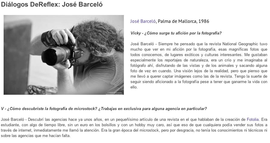 Entrevista para DeReflex.net y curso de Microstock en Bilbao